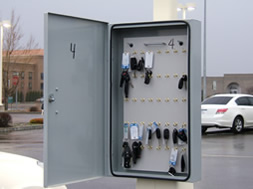 Photo of auto dealership key lock box.