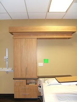 Photo of hospital room cabinetry