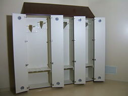 Photo of custom endoscopy storage cabinets with cherry finish
