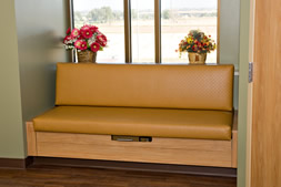 Photo of patient seating custom fitted into alcove